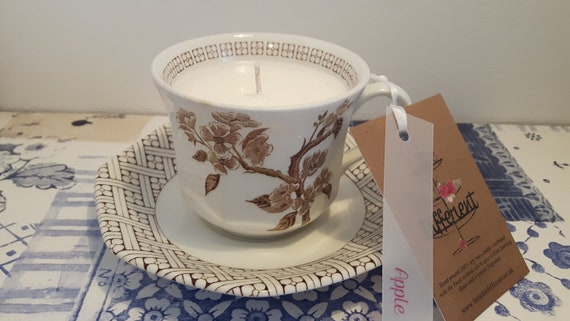 Tea cup candle. Apple scented hand poured scented soy wax   tea cup candle.  Vegan candle.  Eco soya.  Made in Wales UK