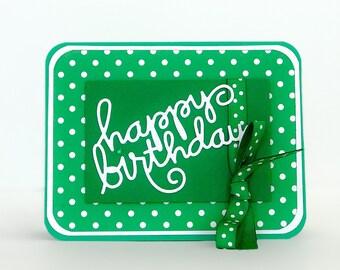 Birthday Card, Handmade Birthday Card, General Birthday Card, Polka Dot Birthday, Childrens Birthday Card, Birthday Card for Friends, Green