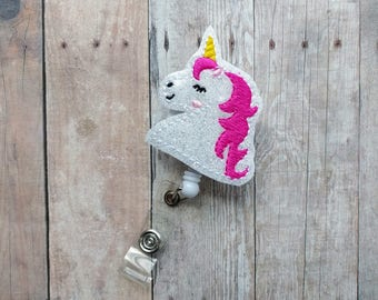 Unicorn Badge Clip, Retractable ID Holder, White Glitter Embroidered Vinyl, Hot Pink Mane, Badge Reel, Choice of Clip Styles, Made in USA