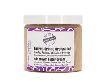 Hair Growth Butter-Cream, Bamboo Extract, Mustard Oil, Black Cumin Oil - Moisturizes, Strengthens, Repairs, Stimulates and Protects the Hair