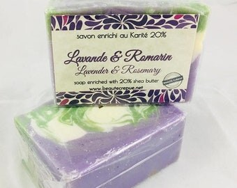ON SALE Lavender & Rosemary - Soap with Shea Butter and Lavender and Rosemary  Essential Oil195g
