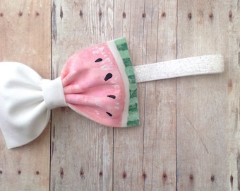 Watermelon bow headbandhand painted pink green glitter bow metallic sparkly accent baby girl