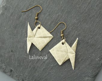 Bronze origami fish earrings