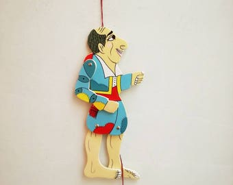 Vintage Karagiozis puppet, wooden Karagiozis wooden puppet, colourful Greek shadow theater marionette, Karagiozi wooden puppet toy