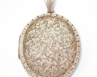 Victorian English Sterling Engraved Locket Hallmarked