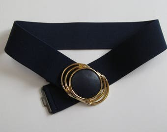Blue cinch belt, 1980s vintage navy stretch belt, big buckle, size medium-large