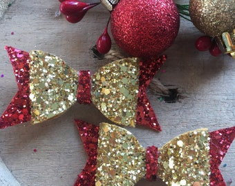 Red and gold festive glitter bows
