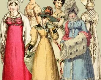 Jane Austen Era Elements #3 - Regency Fashion Ladies - Regency Images - Regency Era Elements - Digital Clipart Embellishments - Jane Austen