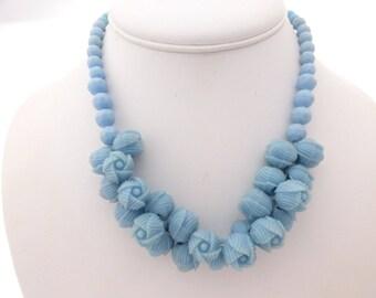 Art Deco Baby Blue Celluloid Rose Flower Bead Choker Necklace