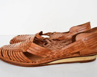 Leather and wood shoes, leather sandals, 80's sandals, wooden sole