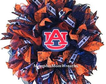 Auburn University Deco Mesh Wreath - Deco Mesh Wreath - Auburn Wreath - College Football Wreath