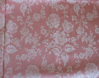 Pink French mattress ticking - 5 yards of UNUSED floral damask roses fabric, French toile de matelas