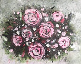 """Pink Roses Painting A4 Size Floral Art For Sale Buy Art on Paper Beautiful Flowers Gift Ideas UK Art Acrylic Painting Original 8""""x12"""""""