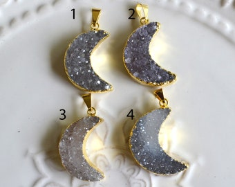 Moon Druzy Pendant, Electroplated with 24K Gold, B