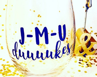 JMU Dukes // MRD // Marching Royal Duuukes // Gifts // football // Customizable 15 oz Stemless Wineglass