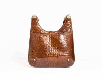 70s Leather Handbag  -  Faux Snakeskin  -  Brown Patent Leather Handbag