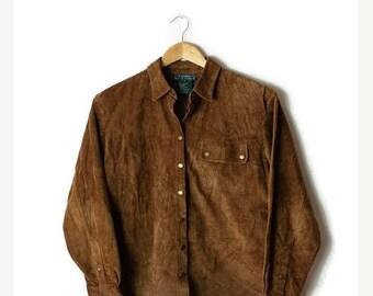 ON SALE Ralph Lauren Brown Suede Long sleeve Blouse/Shirt/Bohemian*