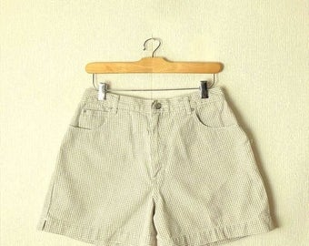 ON SALE Vintage Baby Beige x White Gingham checked  Denim Shorts from 90's/W27*