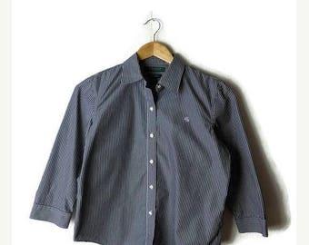 ON SALE Ralph Lauren Black and White Stripe cotton  Blouse/Mid sleeve*
