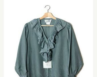 ON SALE Vintage Pale Green Pure Silk Long Sleeve frilled Blouse from 1980's/Deadstock*