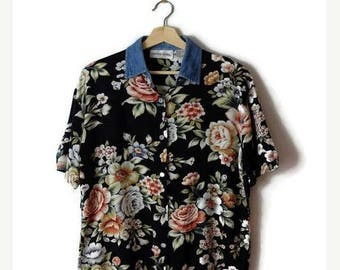 ON SALE Vintage Floral x Denim collared  Short Sleeve Slouchy Blouse from 90's*