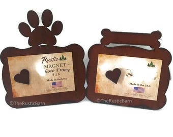 PAW Print or DOG Bone Photo Frame of Rustic Rusty Rusted Recycled Metal