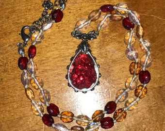 Gorgeous Vintage Beaded Necklace with Red Floral Teardrop Pendant