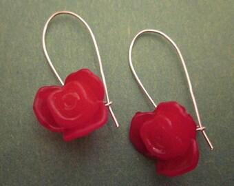 Medium Plastic Red Rose Earrings