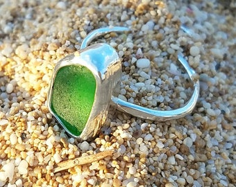 Green Hawaiian sea glass ring- US size 7