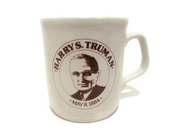 Vintage Harry S. Truman Coffee Cup/ Made in England/ President Coffee Cup/ Missouri Historical Mug/ Collectible/ Beige Brown/ Democrat/ Ober