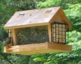 Cedar Bird Feeder With Suet Feeders - All Natural - Hand Crafted - Easy Loading - Naturally Decay Resistant