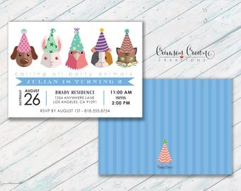 Pets in Birthday Hats Invitation - Adopt a Pet Party Invite - Pet Store Invite - Kid's Animal Party Birthday - Digital File