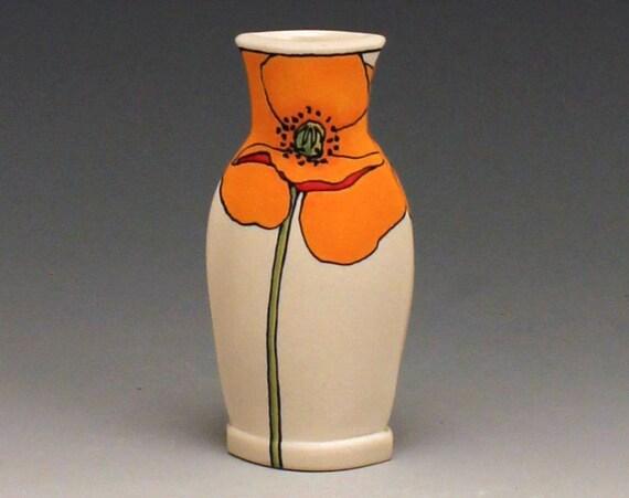 Mini Orange Poppy Vase