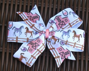 Horse 4 Inch Hair Bow - Horseback Riding 4 Inch Pinwheel-Cowgirl Party-Horse Party Favor-Cowgirl Hairbow-Horse Hair Accessory-BowBravo
