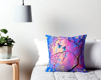 Get PILLOWS TO MATCH your art, pillow, pillows, pretty pillows, pink throw pillows, pink pillows, pink and blue, prints, with, hummingbirds