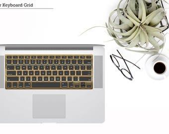 Chrome Champagne Gold / Yellow Gold / Rose Gold / Silver / Black - Keyboard Grid Vinyl Skin - Macbook