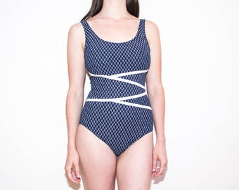 90s navy & white floral bathing suit / criss cross one piece swimsuit / size M