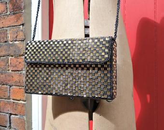 Checkerboard vintage purse / 1980s beaded purse / 80s bag / black and gold crossbody bag / box purse