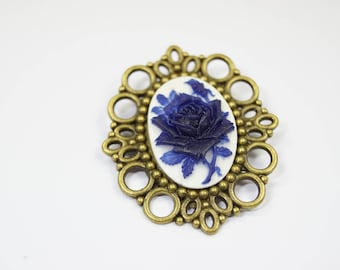 Brooch Flower darkblue