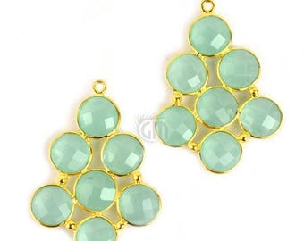 40% OFF Aqua Chalcedony Gemstone bezel component 24k Gold Plated, 36x26mm, 1 piece (GPAD-13024)