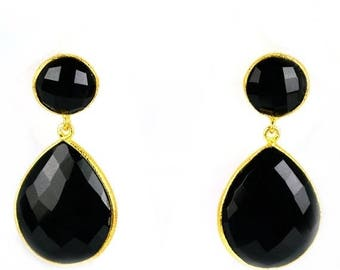 45% OFF Beautiful Handmade Black Onyx Earring , Smooth Bezel Round and Pears shape Connector Earring, 24k gold plated (BOER-90014)