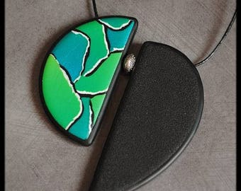 Green Blue polymer Peacock pendant