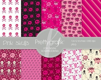 80% OFF SALE Pink skulls digital paper, commercial use, scrapbook papers, background  - PS531
