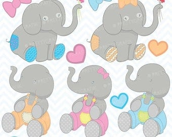 80% OFF SALE Elephant clipart commercial use, vector graphics, digital clip art, digital images - CL396