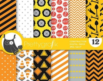 80% OFF SALE Construction digital paper, commercial use, scrapbook papers, background chevron, stripes - PS734