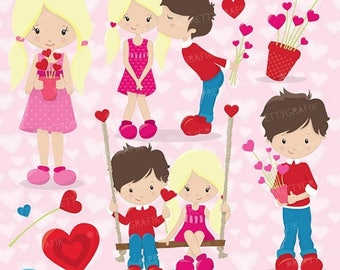 80% OFF SALE Valentine kids clipart commercial use, valentine vector graphics, digital clip art, digital images - CL632