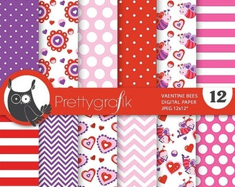 80% OFF SALE Valentine bees digital paper, commercial use, valentine scrapbook papers, background papers, valentine papers - PS689