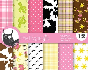 80% OFF SALE Wild west cowgirl digital paper, commercial use, scrapbook papers, background - PS675