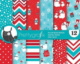 80% OFF SALE Polar bears digital paper, Polar bear commercial use, Christmas bear scrapbook papers, background  - PS836