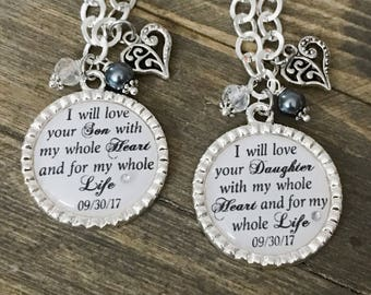 Mother of the BRIDE or GROOM Gift - Mom in Law White Wedding Necklace or Keychain - I Will Love Your Son Daughter For All My Life